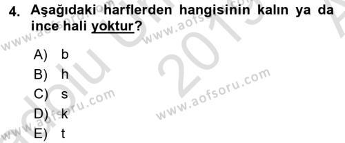 Osmanlı Türkçesi 1 Dersi 2019 - 2020 Yılı (Vize) Ara Sınav Soruları 4. Soru