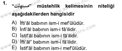 Osmanlı Türkçesi 2 Dersi 2012 - 2013 Yılı Ara Sınavı 1. Soru