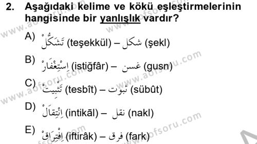 Osmanlı Türkçesi 2 Dersi 2012 - 2013 Yılı Ara Sınavı 2. Soru