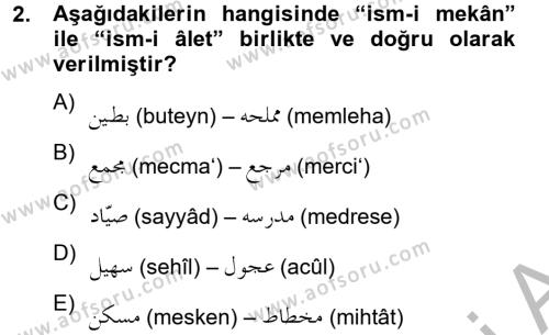 Osmanlı Türkçesi 2 Dersi 2012 - 2013 Yılı Dönem Sonu Sınavı 2. Soru