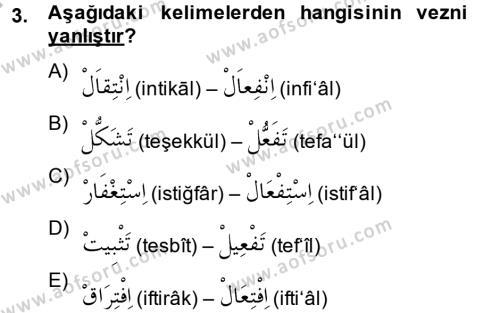 Osmanlı Türkçesi 2 Dersi 2013 - 2014 Yılı Ara Sınavı 3. Soru