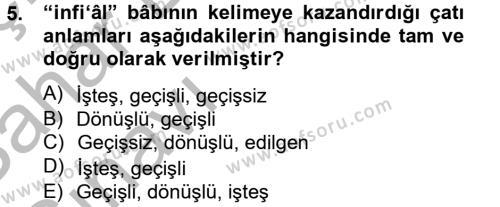Tarih Bölümü 2. Yarıyıl Osmanlı Türkçesi II Dersi 2014 Yılı Bahar Dönemi Ara Sınavı 5. Soru