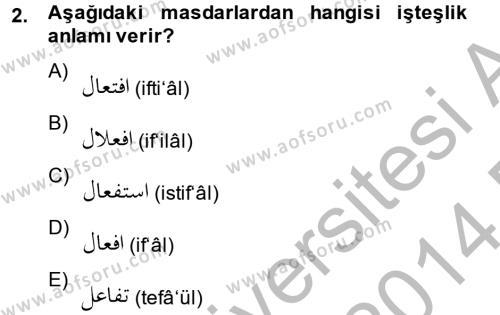 Osmanlı Türkçesi 2 Dersi 2013 - 2014 Yılı Dönem Sonu Sınavı 2. Soru