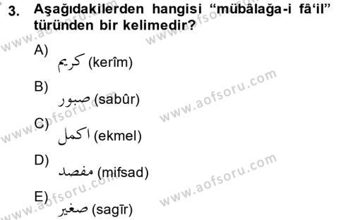 Osmanlı Türkçesi 2 Dersi 2013 - 2014 Yılı Dönem Sonu Sınavı 3. Soru