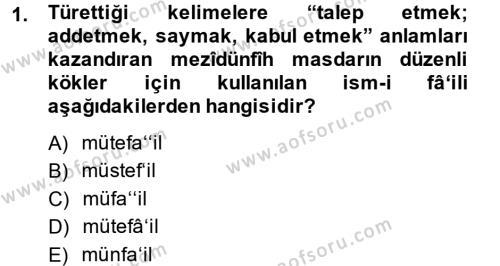 Osmanlı Türkçesi 2 Dersi 2014 - 2015 Yılı Ara Sınavı 1. Soru