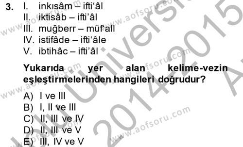 Osmanlı Türkçesi 2 Dersi 2014 - 2015 Yılı Ara Sınavı 3. Soru