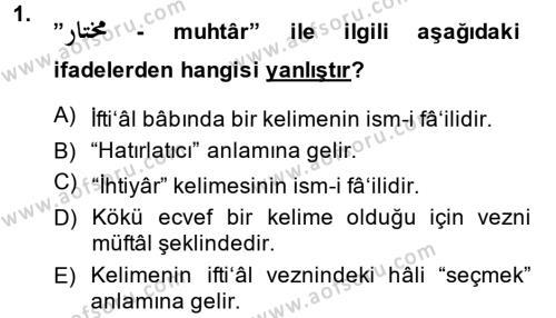 Osmanlı Türkçesi 2 Dersi 2014 - 2015 Yılı (Final) Dönem Sonu Sınavı 1. Soru