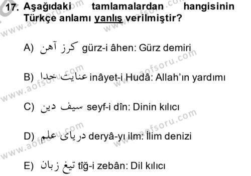 Osmanlı Türkçesi 2 Dersi Dönem Sonu Sınavı Deneme Sınav Soruları 17. Soru