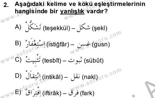 Osmanlı Türkçesi 2 Dersi 2014 - 2015 Yılı (Final) Dönem Sonu Sınavı 2. Soru