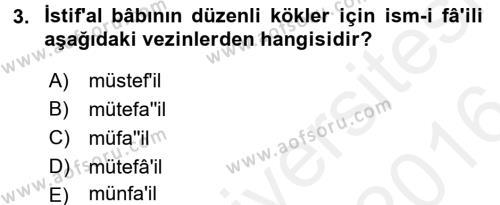 Osmanlı Türkçesi 2 Dersi 2015 - 2016 Yılı Ara Sınavı 3. Soru