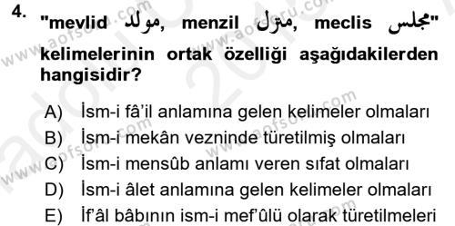 Osmanlı Türkçesi 2 Dersi 2015 - 2016 Yılı Ara Sınavı 4. Soru