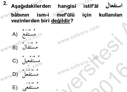 Osmanlı Türkçesi 2 Dersi 2015 - 2016 Yılı (Final) Dönem Sonu Sınav Soruları 2. Soru