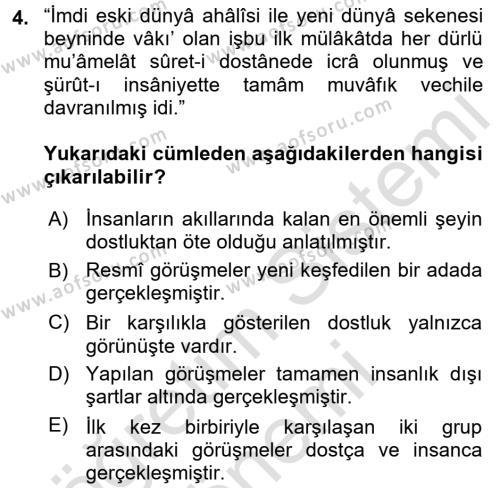 Osmanlı Türkçesi 2 Dersi 2015 - 2016 Yılı (Final) Dönem Sonu Sınav Soruları 4. Soru