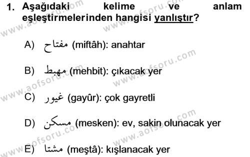 Osmanlı Türkçesi 2 Dersi 2016 - 2017 Yılı (Vize) Ara Sınavı 1. Soru