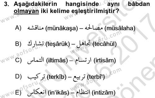 Osmanlı Türkçesi 2 Dersi 2016 - 2017 Yılı Dönem Sonu Sınavı 3. Soru