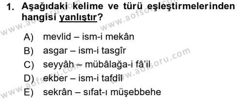 Osmanlı Türkçesi 2 Dersi 2017 - 2018 Yılı Ara Sınavı 1. Soru