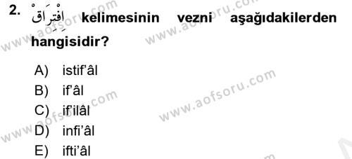 Osmanlı Türkçesi 2 Dersi 2017 - 2018 Yılı (Final) Dönem Sonu Sınav Soruları 2. Soru