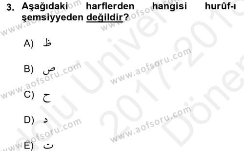 Osmanlı Türkçesi 2 Dersi 2017 - 2018 Yılı (Final) Dönem Sonu Sınav Soruları 3. Soru