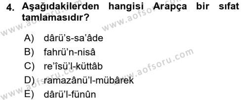 Osmanlı Türkçesi 2 Dersi 2017 - 2018 Yılı (Final) Dönem Sonu Sınav Soruları 4. Soru