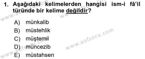 Osmanlı Türkçesi 2 Dersi 2018 - 2019 Yılı (Vize) Ara Sınav Soruları 1. Soru