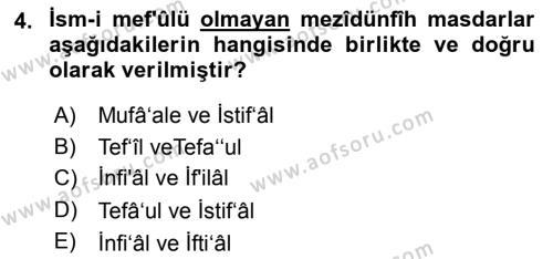 Osmanlı Türkçesi 2 Dersi 2018 - 2019 Yılı (Vize) Ara Sınav Soruları 4. Soru