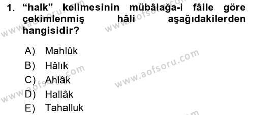 Osmanlı Türkçesi 2 Dersi 2018 - 2019 Yılı (Final) Dönem Sonu Sınav Soruları 1. Soru