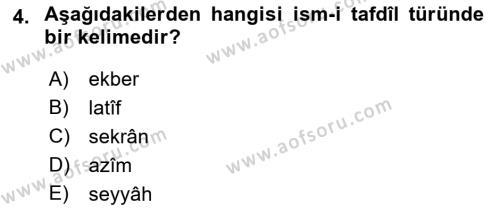Osmanlı Türkçesi 2 Dersi 2018 - 2019 Yılı (Final) Dönem Sonu Sınav Soruları 4. Soru