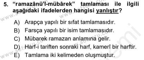Osmanlı Türkçesi 2 Dersi Dönem Sonu Sınavı Deneme Sınav Soruları 5. Soru