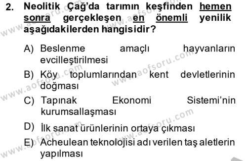 Uygarlık Tarihi 1 Dersi 2014 - 2015 Yılı (Final) Dönem Sonu Sınav Soruları 2. Soru