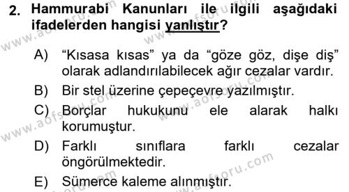 Uygarlık Tarihi 1 Dersi 2016 - 2017 Yılı (Final) Dönem Sonu Sınav Soruları 2. Soru