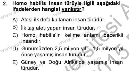 Genel Uygarlık Tarihi Dersi 2014 - 2015 Yılı Ara Sınavı 2. Soru