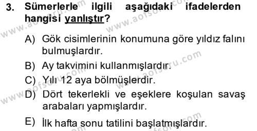 Genel Uygarlık Tarihi Dersi 2014 - 2015 Yılı Ara Sınavı 3. Soru