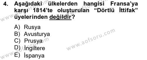 Kamu Yönetimi Bölümü 2. Yarıyıl Siyasi Tarih Dersi 2013 Yılı Bahar Dönemi Ara Sınavı 4. Soru