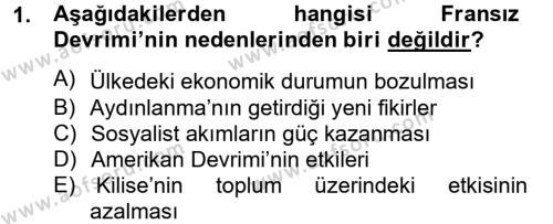 Kamu Yönetimi Bölümü 2. Yarıyıl Siyasi Tarih Dersi 2013 Yılı Bahar Dönemi Dönem Sonu Sınavı 1. Soru