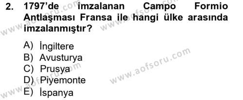 Kamu Yönetimi Bölümü 2. Yarıyıl Siyasi Tarih Dersi 2013 Yılı Bahar Dönemi Dönem Sonu Sınavı 2. Soru