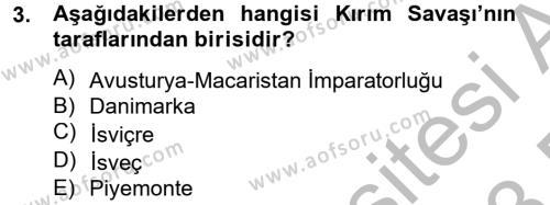 Siyasi Tarih Dersi 2012 - 2013 Yılı Dönem Sonu Sınavı 3. Soru