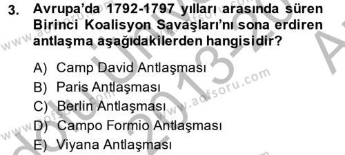 Kamu Yönetimi Bölümü 2. Yarıyıl Siyasi Tarih Dersi 2014 Yılı Bahar Dönemi Ara Sınavı 3. Soru