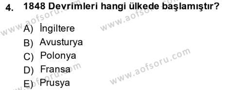 Kamu Yönetimi Bölümü 2. Yarıyıl Siyasi Tarih Dersi 2014 Yılı Bahar Dönemi Ara Sınavı 4. Soru