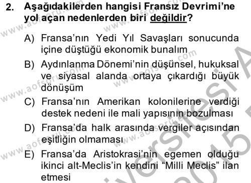 Kamu Yönetimi Bölümü 2. Yarıyıl Siyasi Tarih Dersi 2015 Yılı Bahar Dönemi Ara Sınavı 2. Soru