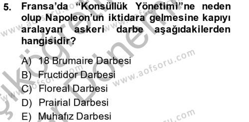 Kamu Yönetimi Bölümü 2. Yarıyıl Siyasi Tarih Dersi 2015 Yılı Bahar Dönemi Ara Sınavı 5. Soru