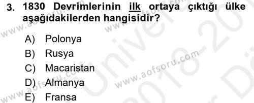 Siyasi Tarih Dersi 2018 - 2019 Yılı (Vize) Ara Sınav Soruları 3. Soru