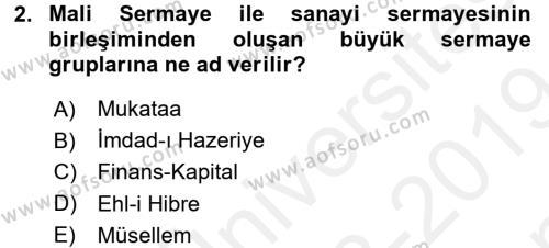 Siyasi Tarih Dersi 2018 - 2019 Yılı (Final) Dönem Sonu Sınav Soruları 2. Soru