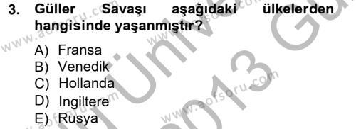 Siyasi Tarih 1 Dersi 2012 - 2013 Yılı Ara Sınavı 3. Soru