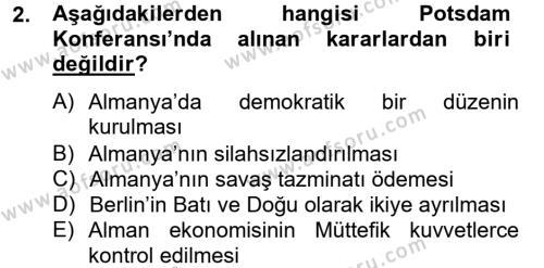 Siyasi Tarih 2 Dersi 2012 - 2013 Yılı Dönem Sonu Sınavı 2. Soru