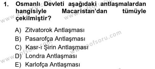 Atatürk İlkeleri Ve İnkılap Tarihi 1 Dersi 2012 - 2013 Yılı Ara Sınavı 1. Soru
