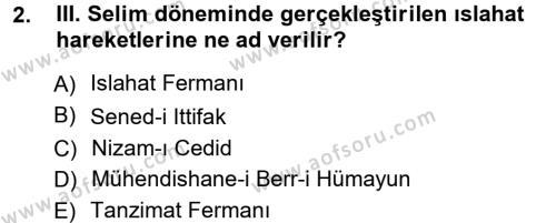 Atatürk İlkeleri Ve İnkılap Tarihi 1 Dersi 2012 - 2013 Yılı Ara Sınavı 2. Soru