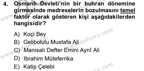 Atatürk İlkeleri Ve İnkılap Tarihi 1 Dersi 2012 - 2013 Yılı Ara Sınavı 4. Soru