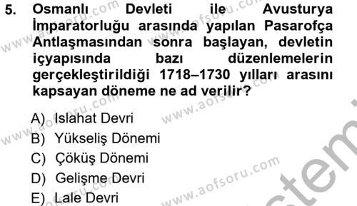 Tarih Bölümü 3. Yarıyıl Atatürk İlkeleri Ve İnkılap Tarihi I Dersi 2013 Yılı Güz Dönemi Ara Sınavı 5. Soru