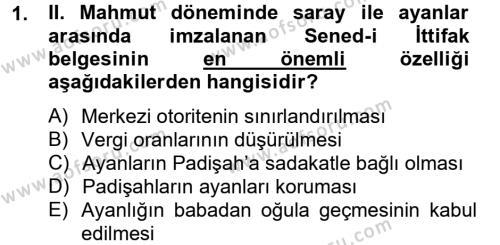 Atatürk İlkeleri Ve İnkılap Tarihi 1 Dersi 2012 - 2013 Yılı Dönem Sonu Sınavı 1. Soru