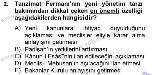 Atatürk İlkeleri Ve İnkılap Tarihi 1 Dersi 2012 - 2013 Yılı Dönem Sonu Sınavı 2. Soru